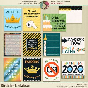 Birthday Lockdown Digital Scrapbooking Pocket Cards