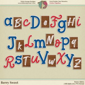 Berry Sweet Digital Scrapbooking Bonus Alphas