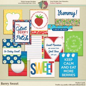 Berry Sweet Digital Scrapbooking Pocket Cards