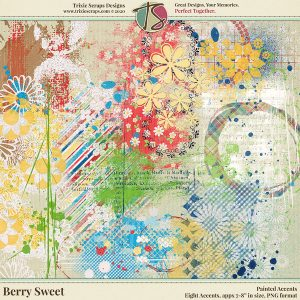 Berry Sweet Digital Scrapbooking Painted Accents